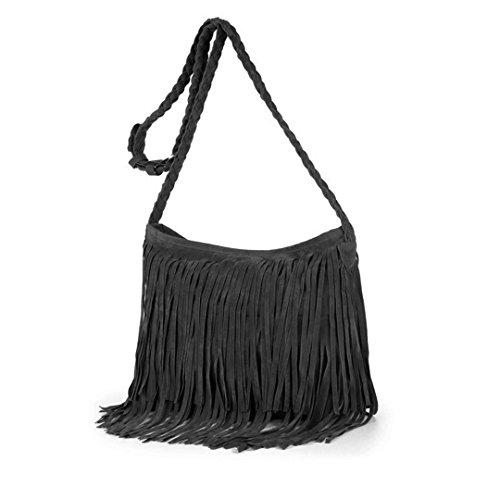 Goodbag Women Girl Suede Fringe Tassel Messenger Bag Hippie Shoulder Bag Fashion Hobo Crossbody Bag Purse, Gray