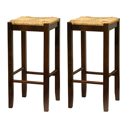 Seat Winsome Square (Winsome Wood 29-Inch Square Rush Seat Bar Stool, Set of 2)