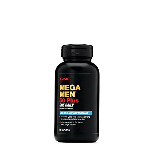 GNC Mega Men 50 Plus One Daily Multivitamin for Men, 60 Count, Take One A Day, Supports Prostate, Heart, Brain, and Eye Health