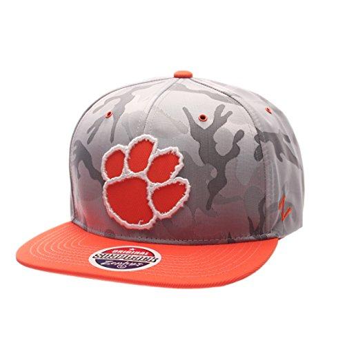 Camo Team Hat - Zephyr NCAA Clemson Tigers Adult Men's Brigade Snapback Hat, Adjustable Size, Gray Camo/Team Color