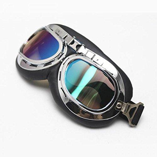 Flieger Chrome Motorrad Sport Halbhelm Brille - Multicolor