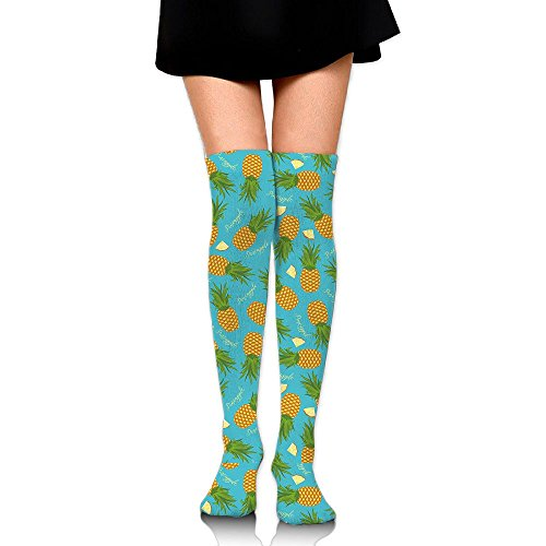 Pineapple Pattern Women Over Knee High Socks Extra Long Athletic Sport Tube - Shops Francisco Airport At San