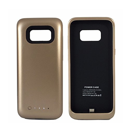 Galaxy S8 Battery Case,5000mah Portable External Backup Charging Case Charging Battery Pack for Samsung S8 Rechargeable Extended Power Bank Case (Gold)