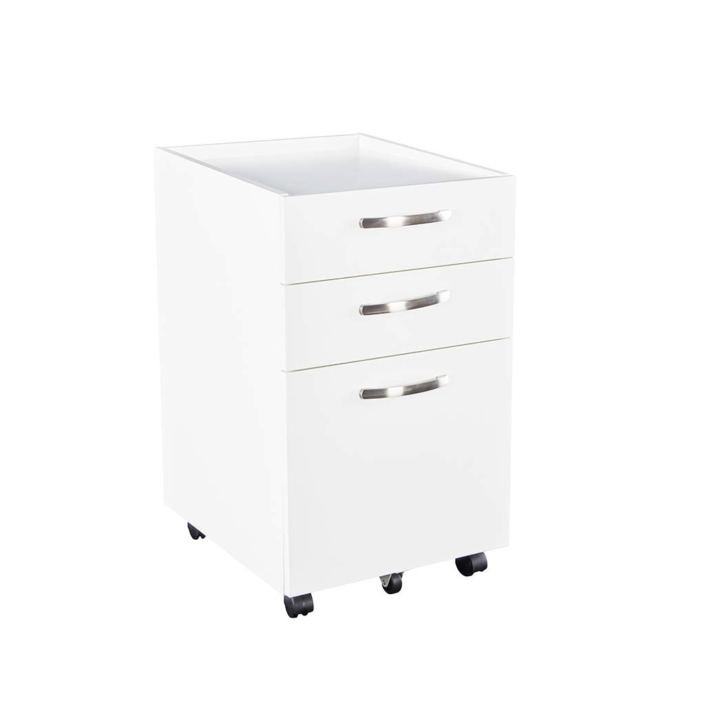 Sunon 3 Drawer Mobile File Cabinet Rolling Wood Cabinet,Fully Assembled Except Wheels (White, 16.2x18.9x27.5 inch) by Sunon
