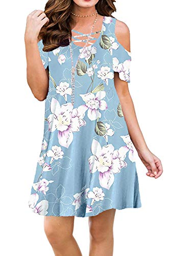 - BLUETIME Women Criss Cross Neckline Summer Cold Shoulder Sundresses Floral Tunic Top Swing Dresses (L, Floral9)