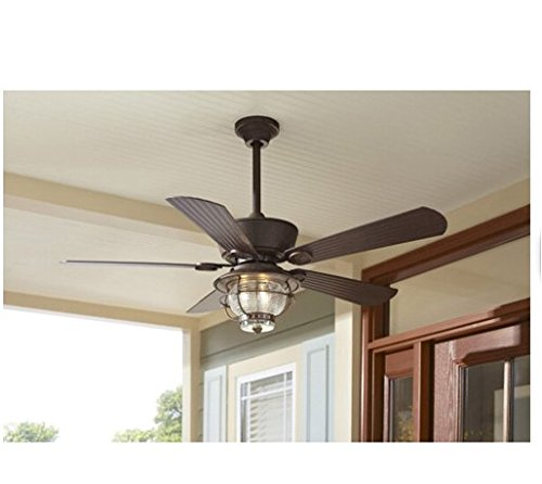 Merrimack 52-in Antique Bronze Outdoor Downrod or Flush Mount Ceiling Fan with Light Kit and Remote Country Chic Indoor Outdoor