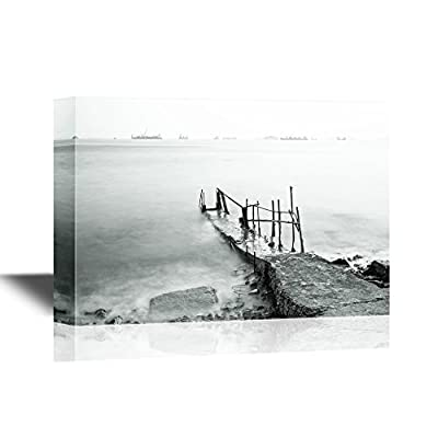 Watercolor Style Jetty on Sea in Fog, Professional Creation, Pretty Composition