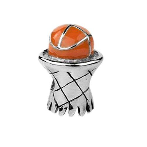Jovana Sterling Silver Basketball & Hoop Bead Charm with Enamel, Fits pandora Bracelet (Basketball Enamel Charm)