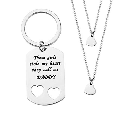 ENSIANTH Father Daughter Gift These Girls Stole My Heart They Call Me Daddy Keychain Set Heart Cut Out Necklace for Daughter (2 Daughter)