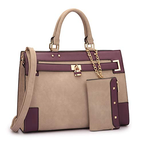 Women Laptop Purses Handbags Satchel Bags Work Briefcase Tote Top Handle Shoulder Bag with Wallet (Stone/Purple) ()