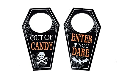 "KOVOT Halloween Door Hangers Set - (2) Coffin Shaped Knob Hangers: ""ENTER IF YOU DARE"" and ""OUT OF CANDY"""