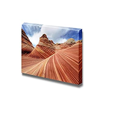 Canvas Prints Wall Art - The Wave Rock Formation at North Coyote Buttes in Utah USA | Modern Wall Decor/Home Decoration Stretched Gallery Canvas Wrap Giclee Print & Ready to Hang - 32