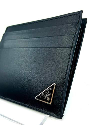 (Prada Vitello Calfskin Leather Card Case, Black (Nero) 2MC223)