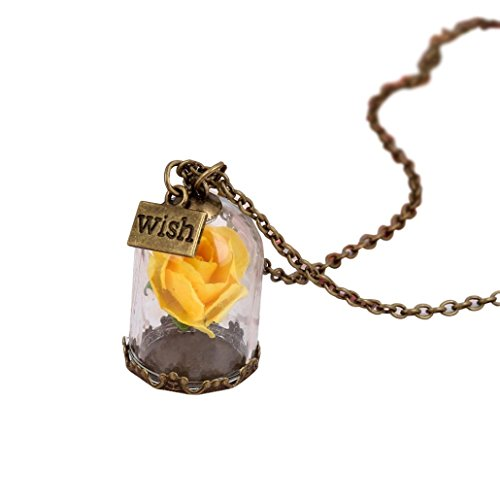 - Botrong Antique Bronze Forever Rose Flower Glass Wish Bottle Necklace for Women Ladies Creative Gift (Yellow)
