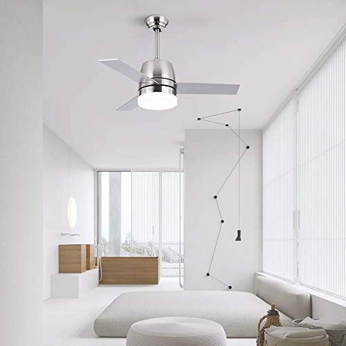 OCSEVE 36'' Ceiling Fan LED Light Kit Remote Control, Flush Mount Brushed Nickel 3 Blades Ceiling Fan with Light for Indoor Bedroom by OCSEVE (Image #7)