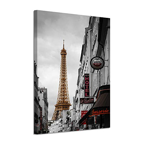 Hardy Gallery Cityscape Artwork Pictures Paintings: Romantic Paris Love with Eiffel Tower Graphic Art Painting Print on Canvas for Home Wall Decorations(24
