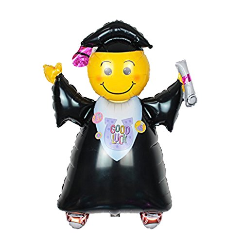 MonkeyJack 40 inch Smiley Jumping Grad with Cap Balloon Bouquet Happy Graduation Congratulation (Black And Yellow Graduation Decorations)