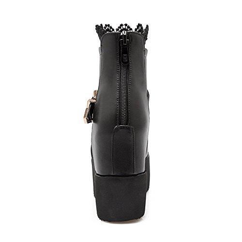 Allhqfashion Womens Rits Hoge Hakken Pu Solide Lage Laarzen Zwart