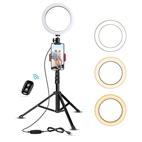 8″ Selfie Ring Light with Tripod Stand & Cell Phone Holder for Live Stream/Makeup, UBeesize Mini Led Camera Ringlight for YouTube Video/Photography Compatible with iPhone Xs Max XR Android (Upgraded)