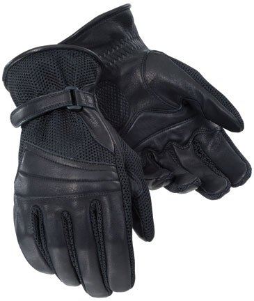 Tour Master Gel Cruiser 2 Mens Leather/Textile Touring Motorcycle Gloves - Black/X-Small
