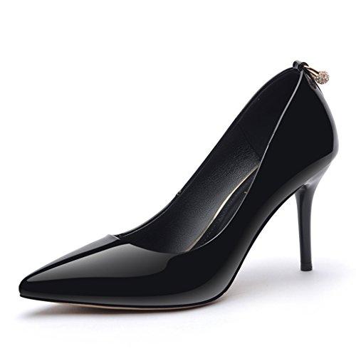 Chaussures femme HWF Chaussures Simples Femmes Printemps Pointu Stiletto Talons Sexy Summer (Couleur : Gris, Taille : 36) Noir