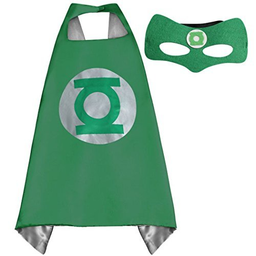 Green Lantern Child Costumes (Whoopgifts Green Lantern Costume Kids Superhero Cape With Felt Mask)