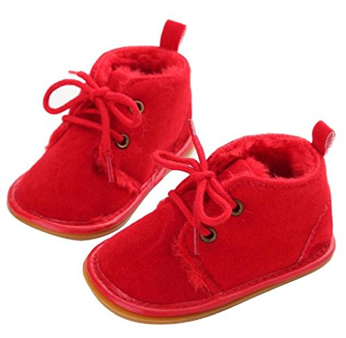 Covermason Baby Gummisohle Kleinkind Schuhe Krippe Schuhe Schneestiefel Lauflernschuhe Rot