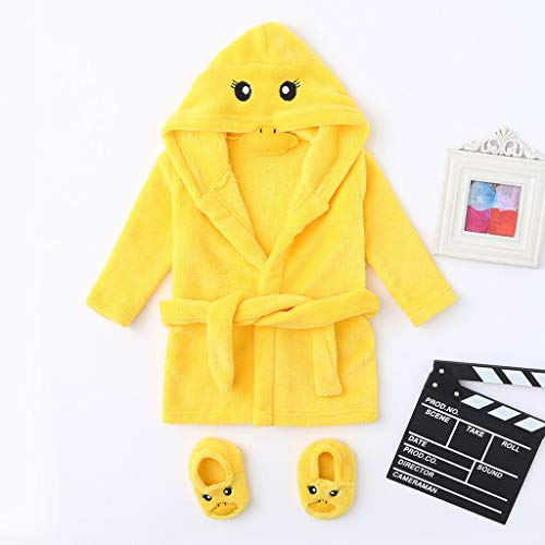 Jshuang Bathrobe&Footwear Outfits Flannel Ultra Soft Plush Comfy Hooded Nightgown Homewear Small Yellow Duck Sleepwear