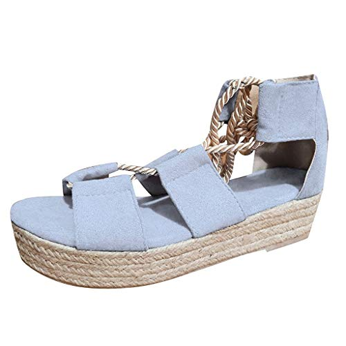Summer Platform Sandals for Women, Huazi2 Wedge Lace Up Flat Beach Shoes Blue