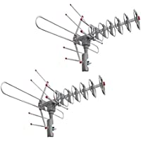 Simply Silver -2 Pcs 180 Miles Outdoor Amplified HD TV Antenna High Gain 22-38dB UHF/VHF/FM