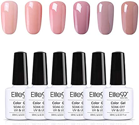 Elite99 Esmalte de Uñas, Esmaltes Semipermenentes para Uñas, 6pcs Kit de Uñas de Gel, Soak off Pintauñas de Colores para Manicura 10ml - Nude 001: Amazon.es: Belleza