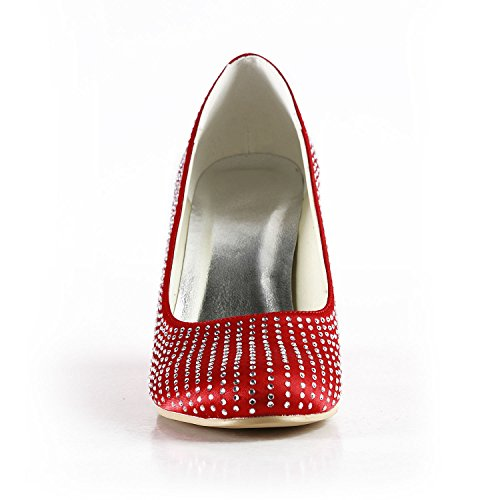 Women's Wedge Party Pumps 9cm Heel Crystals Satin Minishion Red Wedding Prom ZEdZqx