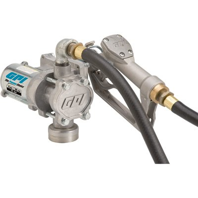 GPI 137100-01, EZ-8 Fuel Transfer Pump, 8 GPM, 12-VDC, Manual Nozzle, 10' Hose, 15' Power Cord by GPI