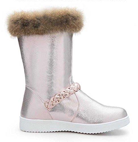 Boots Mid Fur Solid Faux Women's CHFSO Heel Warm Platform Champagne Calf Winter Low Fashion Snow Waterproof Lined CwBHqZTxZ