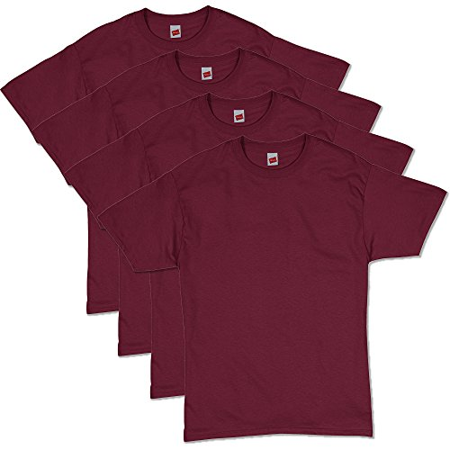 Hanes Men's Comfortsoft T-Shirt (Pack Of 4),Maroon,Large
