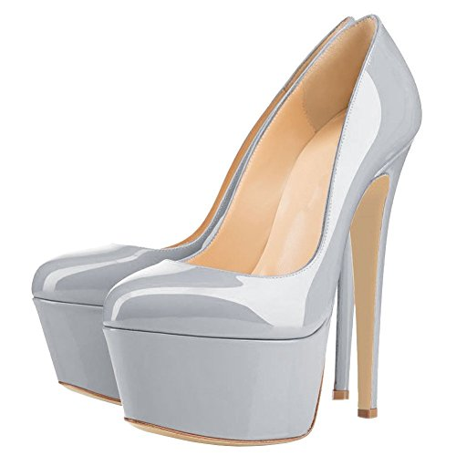Shoes 7 Stiletto Size Platform Toe Pumps High Women Heels Round Dress Grey qw8BFnnP