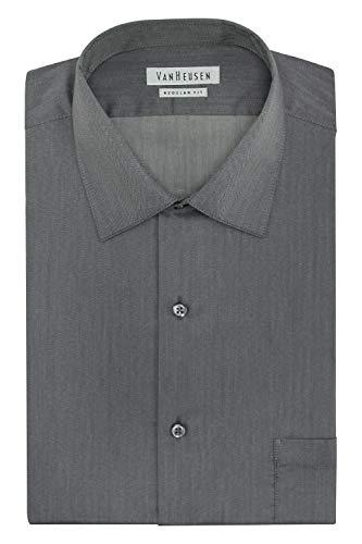 Van Heusen Men's Big and Tall Herringbone Regular Fit Solid Spread Collar Dress Shirt, Black Pepper, 18.5