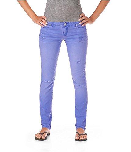 Aeropostale Womens Low Rise Signature Bayla Skinny Fit Jeans, Purple, 1/2 Regular