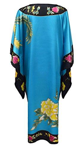 Kimono vestido de interior chino para mujer estilo boubou - bata elegante y cómodo talla unica turquesa/negro