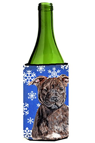 Caroline's Treasures SC9777LITERK Staffordshire Bull Terrier Staffie Winter Snowflakes Wine Bottle Koozie Hugger, 750 mL, Multicolor Caroline's Treasures