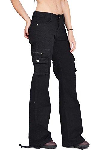 Pantalones Mujer Negro Anchos Jeans Cargo Combate Y Sueltos Militares – De Para fgTxgHF