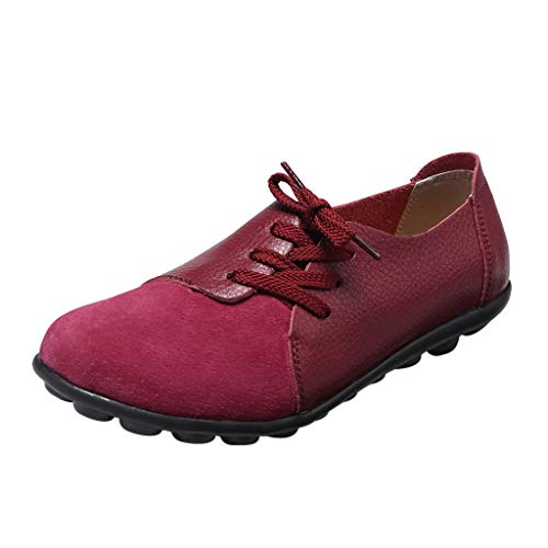Women's Loafers Driving Moccasin Comfort Soft Leather Oxfords Coach Loafers 2019 New Flats Slip-On Slipper Shoes (US:7.5(38), Wine)