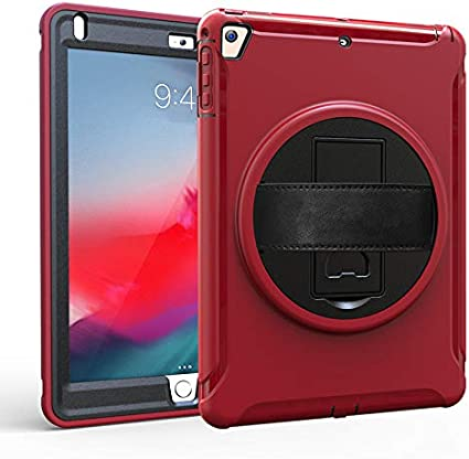 Durable Lightweight Hand Strap 360 Degree Rotate Stand Case Cover for iPad 9.7 inch 2017//2018 elecfan New iPad 9.7 Case Black