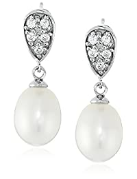 Bella Pearl Rhodium-Plated Sterling Silver and Chinese Freshwater Cultured Pearl Earrings