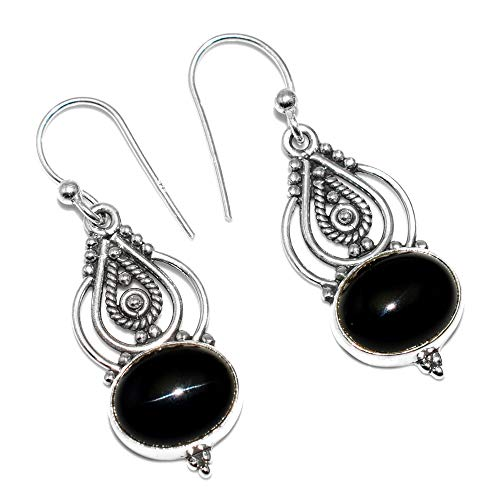 Silver Palace Sterling Silver Handmade And Natural Black Onyx Earrings for Womens and Girls