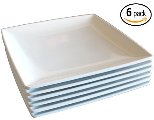 Square Melamine Dinner Plates with Flared Edges and Pan Scraper, 7.25 inches, Set of 6, White