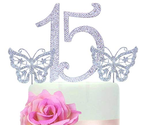 Sweet 15 Quinceanera Numbers Silver Bling Cake topper in Rhinestones + butterfly Cake -