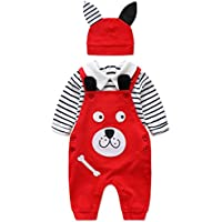 3 Pcs Baby Boy and Girl Pants Clothing Set,Infant Stripe Polo Shirt+Red Overalls Outfit Suits with Cap