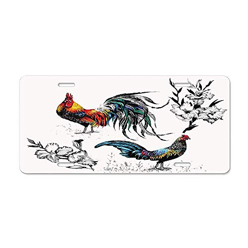 DIY LiEN Roosters and Flowers Branches Stems Blooms Grasses Wildflowers Artwork Print Car Licence Plate Covers Holders with Chrome Screw Caps for US Vehicles ()