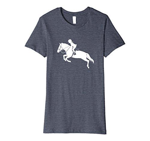 Womens English Riding Hunter Jumper Girl Riding Horse FITTED Shirt Medium Heather Blue (Hunter Jumper)